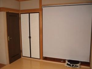 ⑤襖張替え、ロールカーテン取り付け